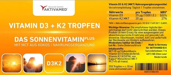 Vitamin D3 + K2 Tropfen 10 ml