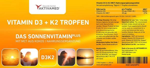 Vitamin D3 + K2 Tropfen 50ml